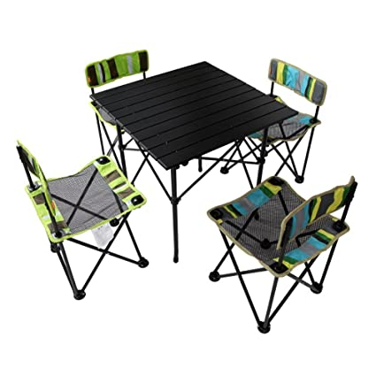 MK Foldable Kids Picnic Table and Chairs Set for Family Outdoor Camping Beach Party,Stripe Assorted Color