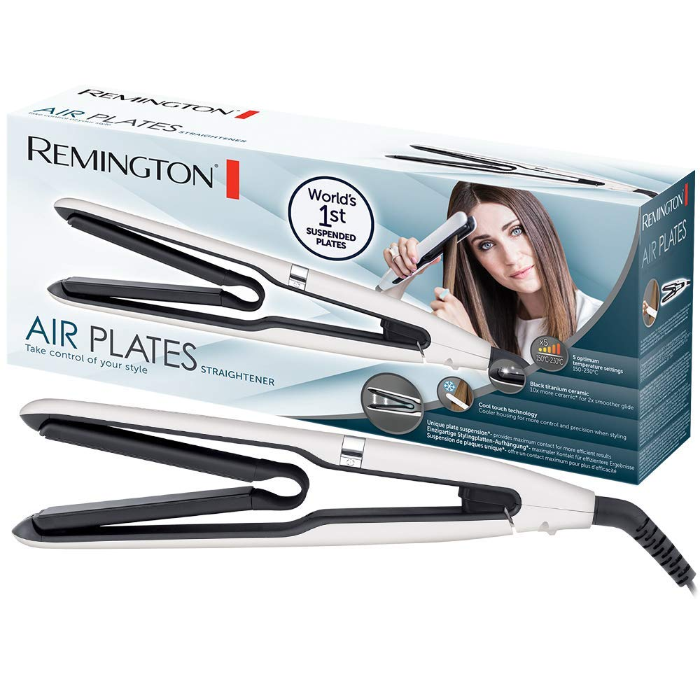 Remington Air Plates S7412 Plancha de Pelo, Cerámica Negra, Titanio, Digital, Suspensión de Placas Exclusiva, Blanco