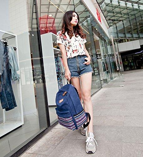 Adorable Lona de Raya Mochila Escolar Bolsa Campus Universitario Bolsa de Deporte al Aire Libre Viajes Bolsa para Escuela Azul