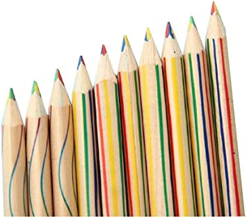 10 pcs Multi Colored Pencil Drawing Painting Rainbow Color Pencil 4 Color in one