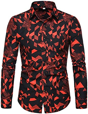 YFSLC-Studio Camisa De Manga Larga Hombre,Red De Hombres Slim ...