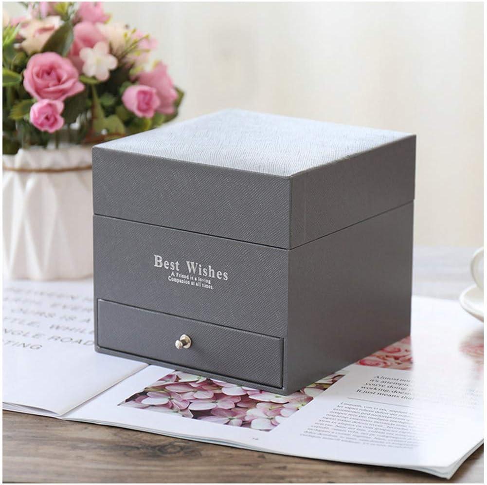 Black//Ring Box Knowooh Savons parfum/és /à la Rose 16 pi/èces Rose Petal Double Layer Soap Flower Gift Box Coffret /à Bijoux avec tiroir Cadeau pour lanniversaire de la Saint-Valentin