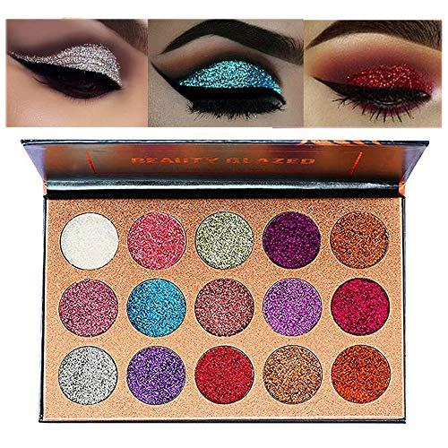 (Beauty Glazed Ultra Pigmented Glitters No Glitter Glue Required Powder Glitter Eyeshadow Palette Creamy Glitter Pro Makeup Palettes for Glitter Eyes Shimmer and Gorgeous 15 Colors Waterproof)