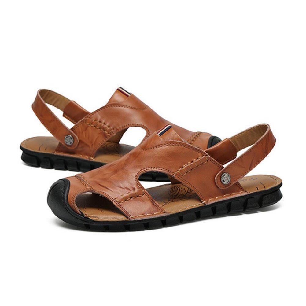 QSYUAN Nuevos Zapatos De Ocio De Los Hombres Sandalias De Fondo Plano Pedal & Comfort Transpirable Amortiguación Equilibrio Antideslizante Bolsa Toe Beach Zapatos Y Zapatos Casuales,Brown,42 42|Brown