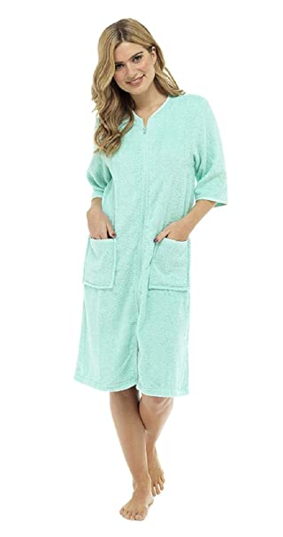 how to get search for official shop for Tom Franks Ladies Cotton Terry Zip Front Gown