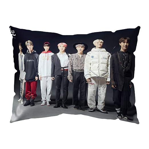 GOTH Perhk Kpop BTS Funda de Almohada 50 x 30 cm Funda de Almohada de Terciopelo Suave Funda de Cojín, Mejor Regalo para BTS ARMY(Style 05)