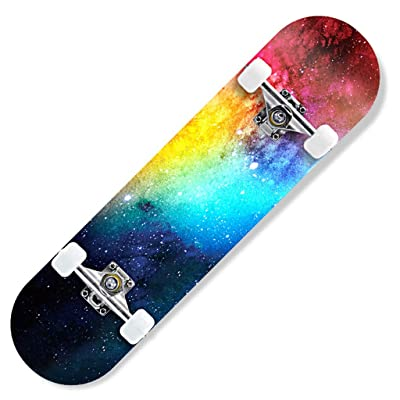 "OFFA Skateboard 31"" X 8"" Complete Skateboards Cruiser Deck Double Kick 7 Layer Maple Wood Adult Tricks Skate Board for Beginner, Boards Birthday Gift for Kids Boys Girls Teens (Color : A): Home & Kitchen"