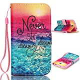 "Samsung Galaxy S4 i9500 Wallet Case,Topforcity® ""Never stop dreaming"" pattern Wallet Beautiful Style Magnetic PU Leather Stand Flip Case With rope Protective Cover For Samsung Galaxy S4 i9500"