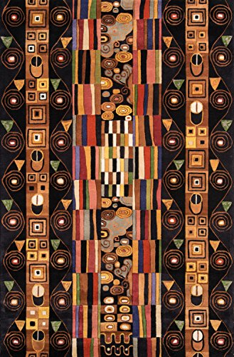 Momeni Rugs NEWWANW-33BLK5380 New Wave Collection, 100% Wool Hand Carved & Tufted Contemporary Area Rug, 5'3