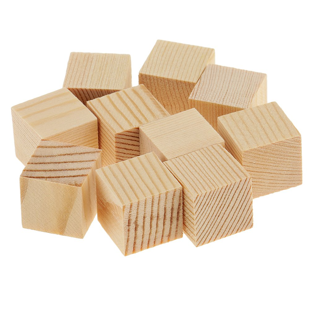 20mm 10 pezzi Homyl Blocchi Cubo Di Legno Abbellimento Scrapbooking Craft Mestiere DIY