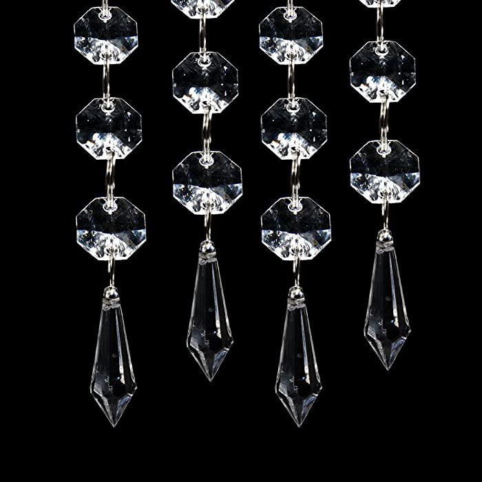 30pcs Acrylic Clear Crystal Strands Gems Bead Curtain for Wedding Centerpieces Garland/Party/Christmas Decoration