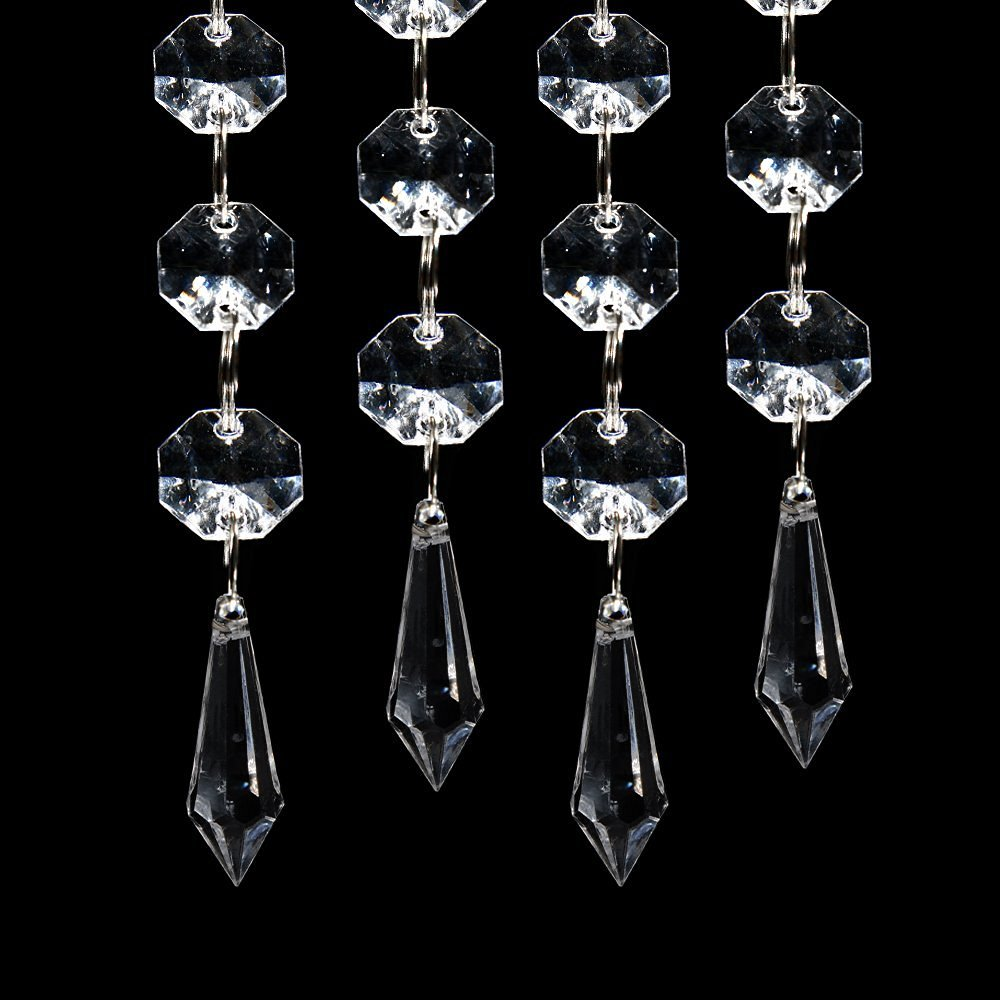 JaneYi 38mm Teardrop Crystal Pendant Clear Crystal Glass Chandelier Prism Sun Catcher Parts Hanging Drops Pendant with Octagon Bead for Curtain Lamp Vase Garden Party Christmas Wedding Decor 24 Pack