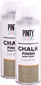 Pintyplus Chalk Finish Spray Paint - Vintage Olive 13.5 oz Cans, 2 Pack - Water Based, Environmentally Friendly, Fast Drying - Ideal on Wood, Melamine, Canvas, Iron, Plastic, Cardboard, and Glass