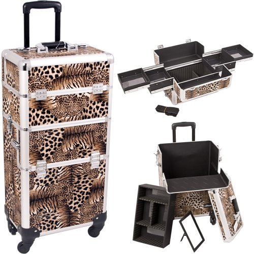 Series Tote Tray - 14.5 inch 2 in 1 Interchangeable Series Faux Leopard Print Makeup Carrying Tote Cosmetic Train Case Pro Beauty Artist Studio with Four 360 Degree Rotating Wheels and Telescoping Drag Handle