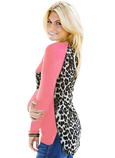 ISSHE Camisetas Cuello Redondo Manga Larga Mujer Camiseta Para Dama Camisas Estampadas Camisa Leopardo Top Chica
