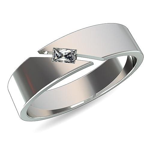 JewelsForum - Anillo de diamante de oro blanco de 14 quilates Hi I1/I2 de 0,08 quilates con corte esmeralda: Amazon.es: Joyería