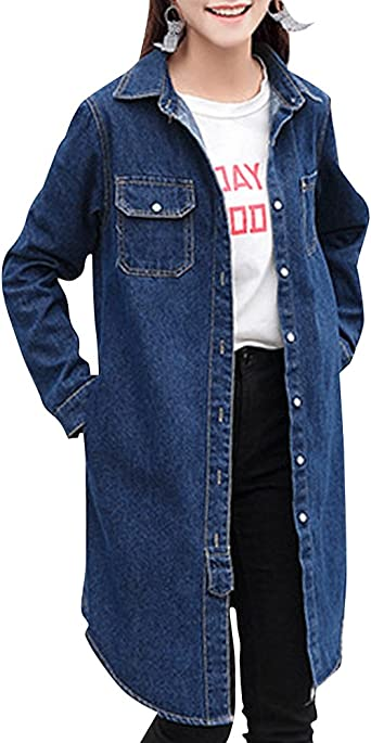 Veste Manteau en Jeans pour Femme Longue: