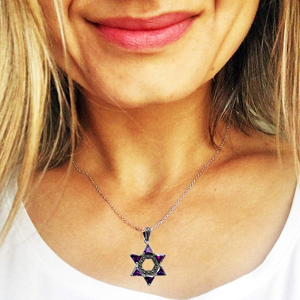 Jewish Star of David Sterling Silver Purple Cubic Zirconia, Marcasite Pendant Necklace