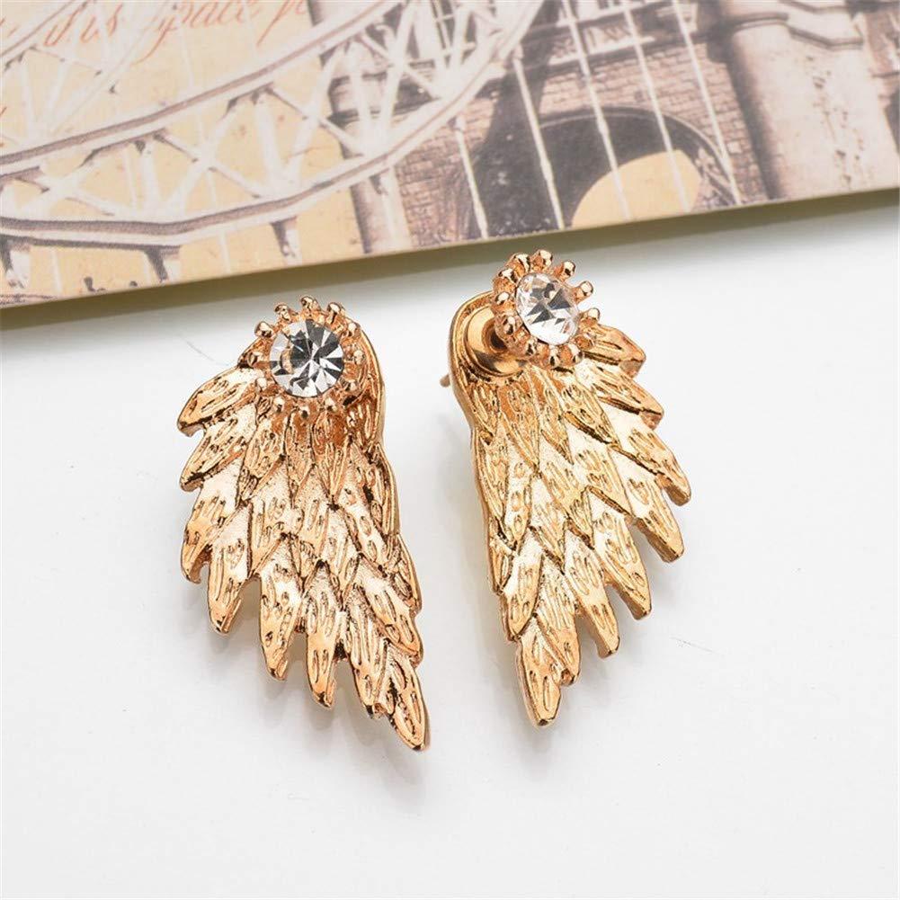 Metal Feather Front Back Earrings Vintage Cubic Zirconia Angel Wings Leaf Drop Stud Earrings for Women Girls Jewelry