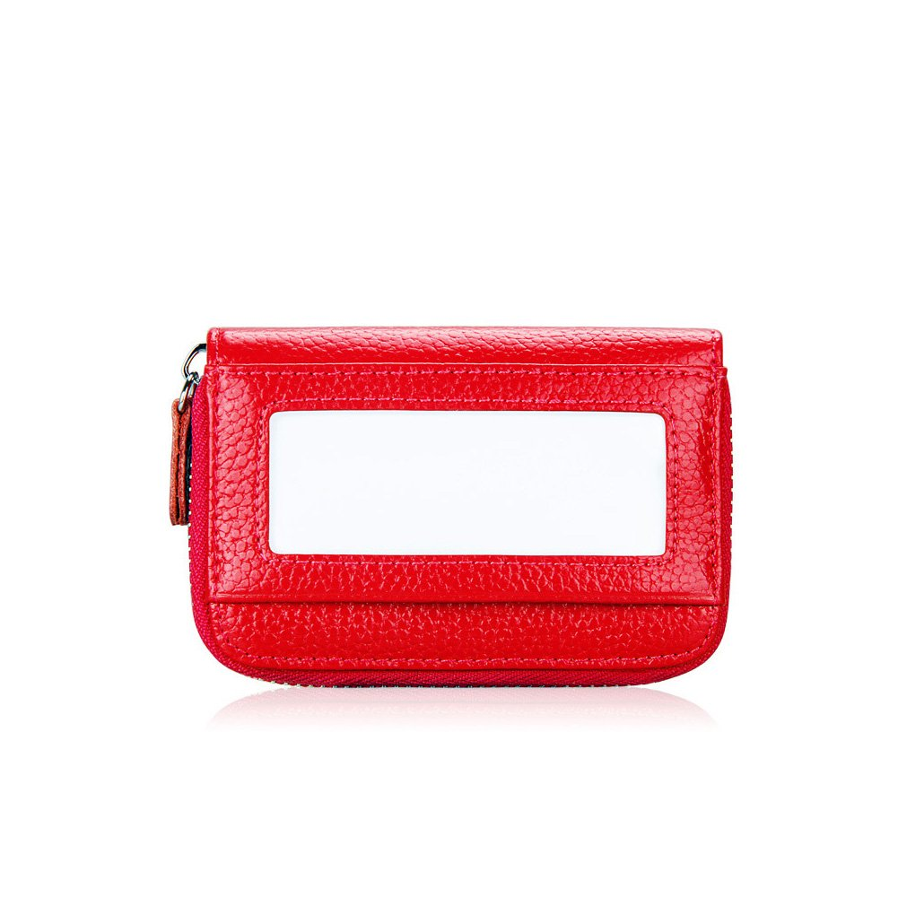 MuLier Genuine Leather RFID Blocking ID Window Credit Card Holder Mini Wallet (Red) CH0004-red