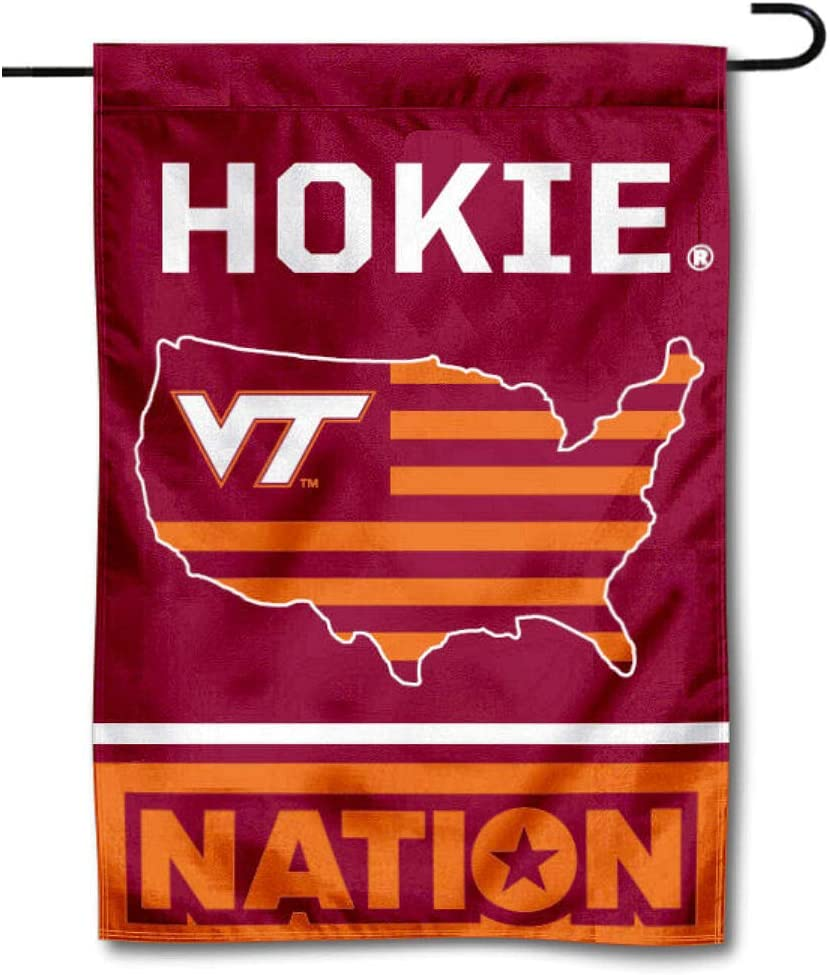 College Flags & Banners Co. Virginia Tech Hokies Garden Flag with USA Stars and Stripes