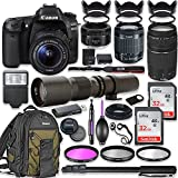 Canon EOS 80D DSLR Camera with 18-55mm Lens Bundle + Canon EF 75-300mm III Lens, Canon 50mm f/1.8 and 500mm Preset Lens + Canon Water Resistant Backpack + 64GB Memory + Monopod + Professional Bundle