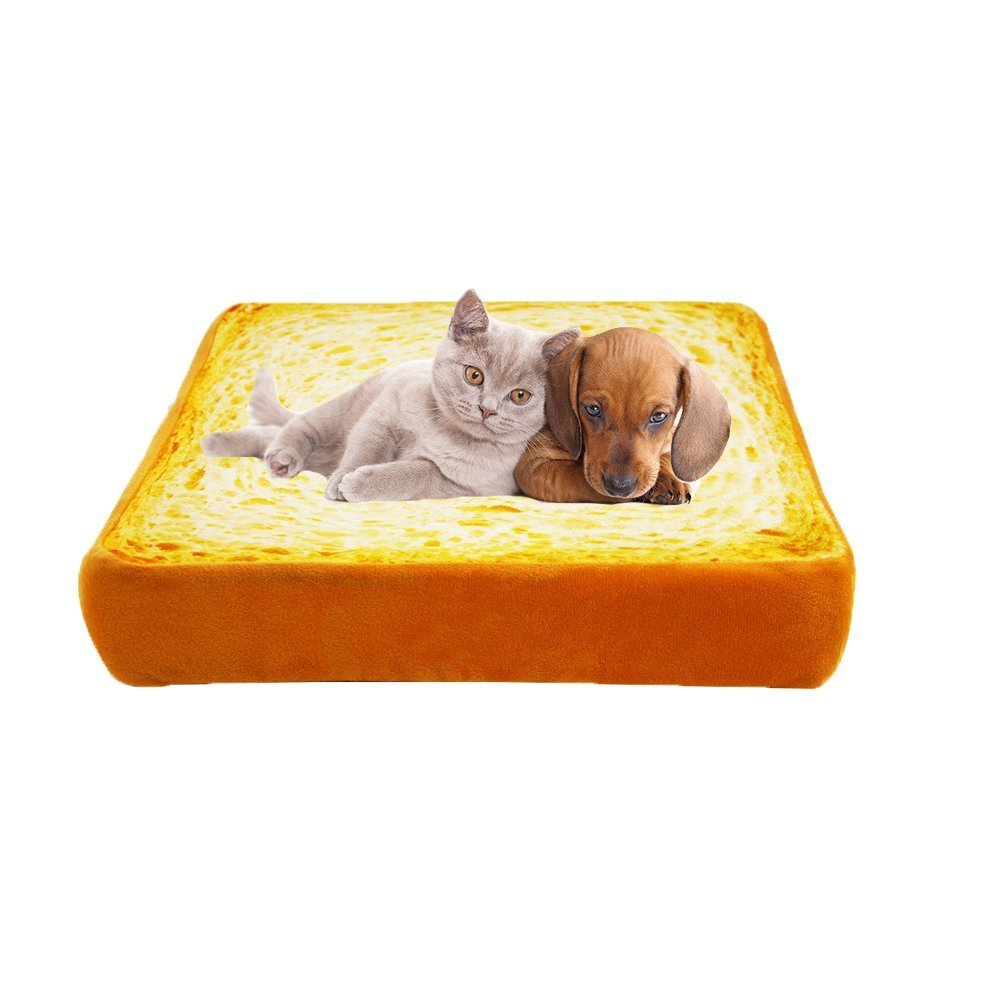 Fashion and Unique Plush Simulated Toast Pet Mats Cushion Soft Warm Mattress Beds for Cat and Dog(Small)