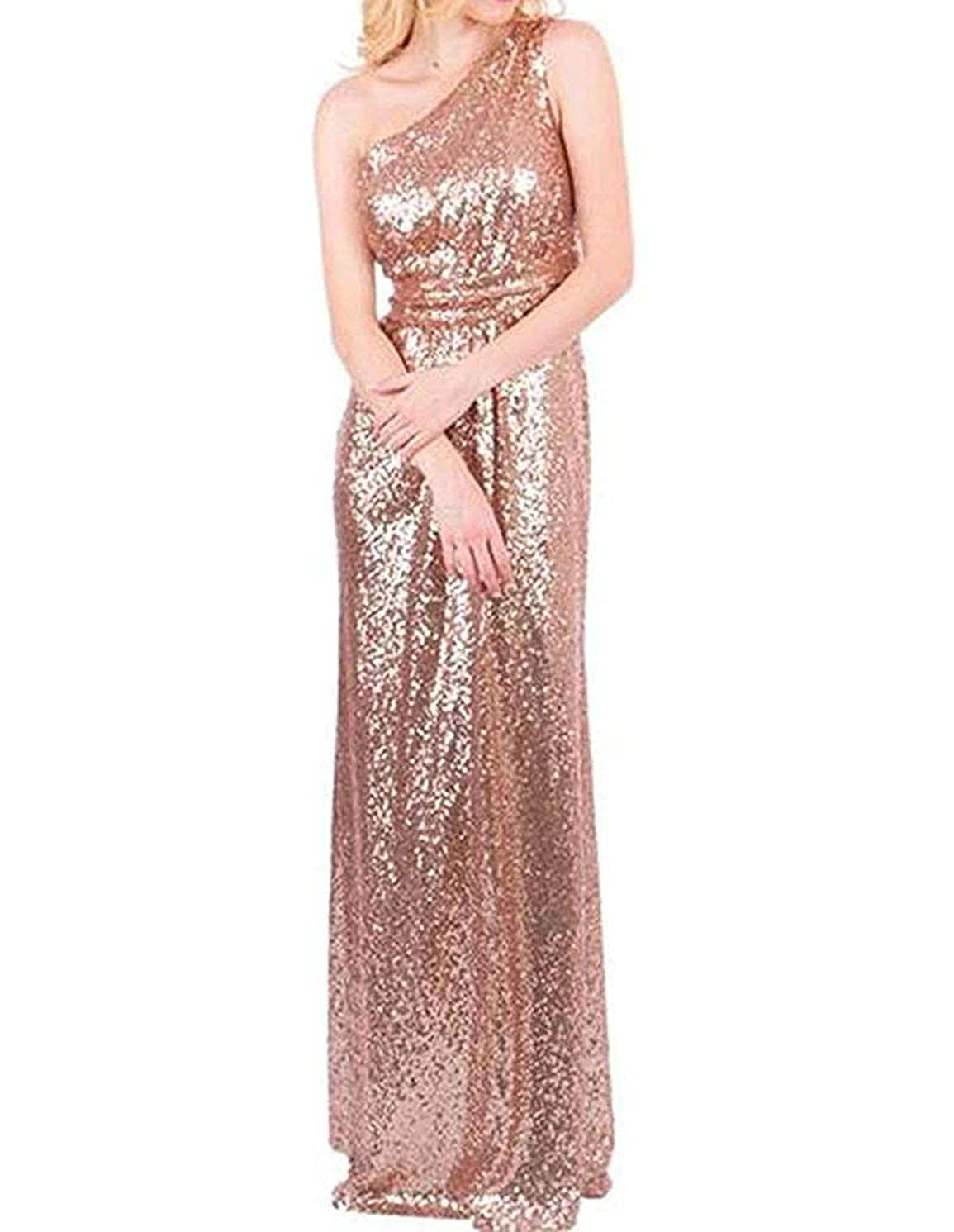 pink gold TTYbridal 2019 Sequins Bridesmaid Dress Long One Shoulder Formal Evening Gown B2