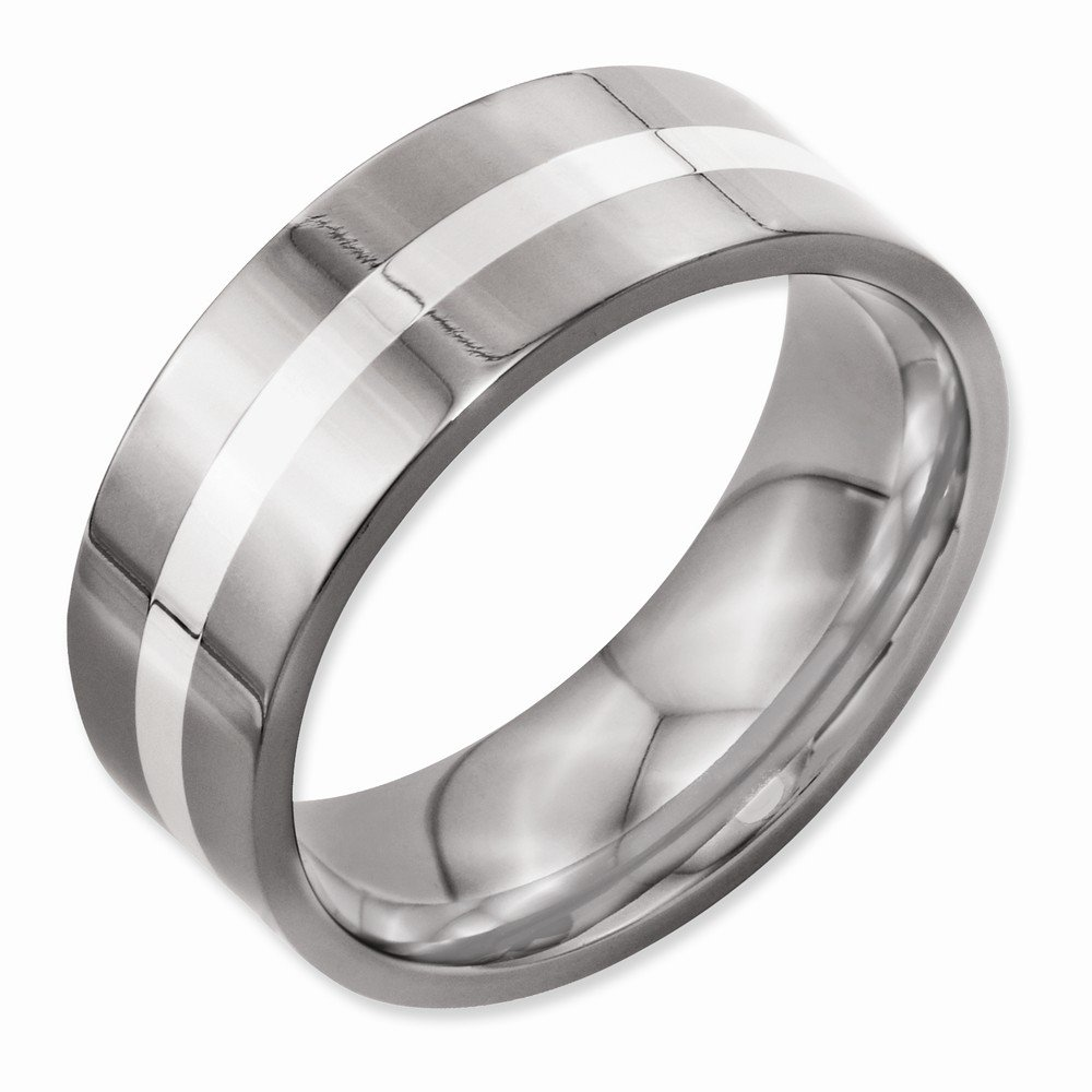 Titanium Sterling Silver Inlay Flat 8mm Polished Band Best Quality Free Gift Box