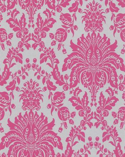 Pink And Black Damask Wallpaper - 1