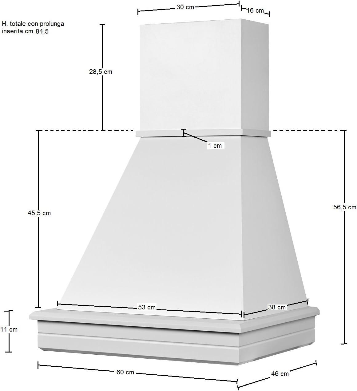Campana de cocina rústica de madera. Modelo: Stock 60 de pared – Nogal clásico – Cono de color blanco.: Amazon.es: Hogar
