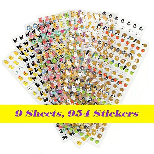 9 Pieces Best Value Choice of Colorful Cute Animal Calendar Reminder Stickers (Total 954pcs) - Cat, Deer, Bear, Penguin, Alice In Wonderland, Chicken, (Stationary Stickers)