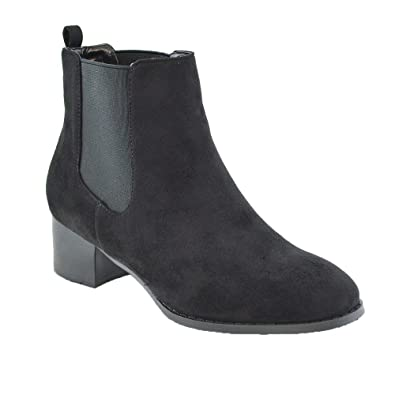 aef9832aee10 ESSEX GLAM Womens Chelsea Ankle Boots Low Heel Elastic Pull On Gusset  Casual Riding Biker Winter Booties  Amazon.co.uk  Shoes   Bags
