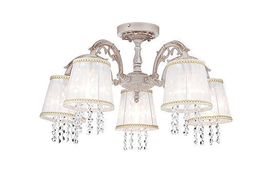 Kronleuchter Mit Organza Schirm ~ Eleganter kronleuchter weißer metall dekor aus klaren kristall