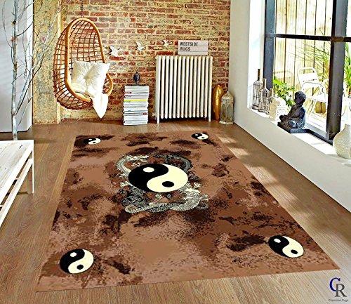 Champion Rugs Oriental Modern Japanese Dragon Yin Yang Carpet Area Rug (5' 3