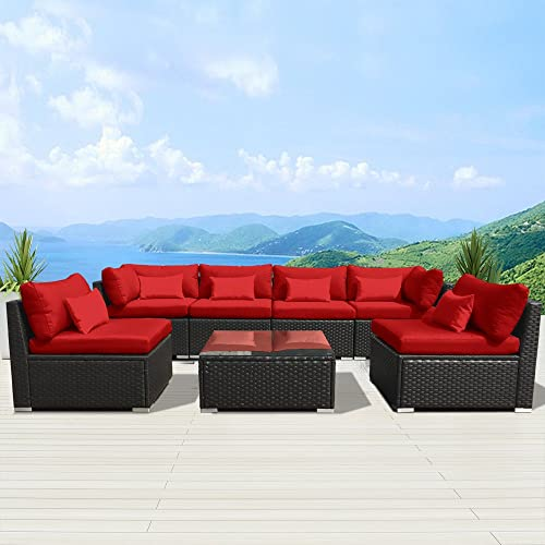 Modenzi 7G-U Outdoor Sectional Patio Furniture Espresso Brown Wicker Sofa Set Red