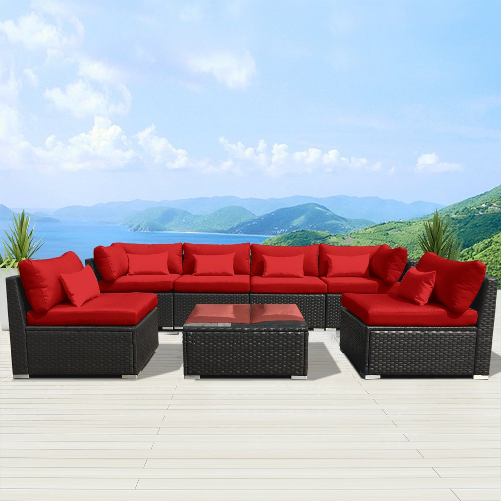 Amazon com modenzi 7g u outdoor sectional patio furniture espresso brown wicker sofa set red garden outdoor