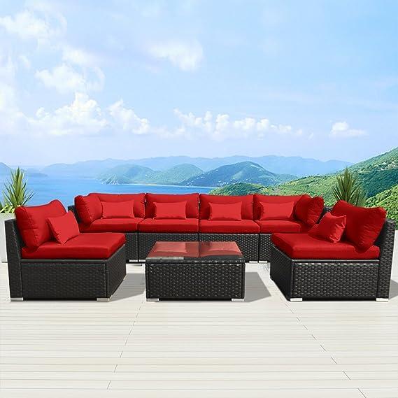 Amazon.com: Modenzi 7G-U Outdoor Sectional Patio Furniture Espresso Brown  Wicker Sofa Set (Turquoise): Garden & Outdoor - Amazon.com: Modenzi 7G-U Outdoor Sectional Patio Furniture Espresso