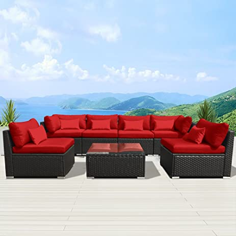 Modenzi 7G U Outdoor Sectional Patio Furniture Espresso Brown Wicker Sofa  Set (Red)