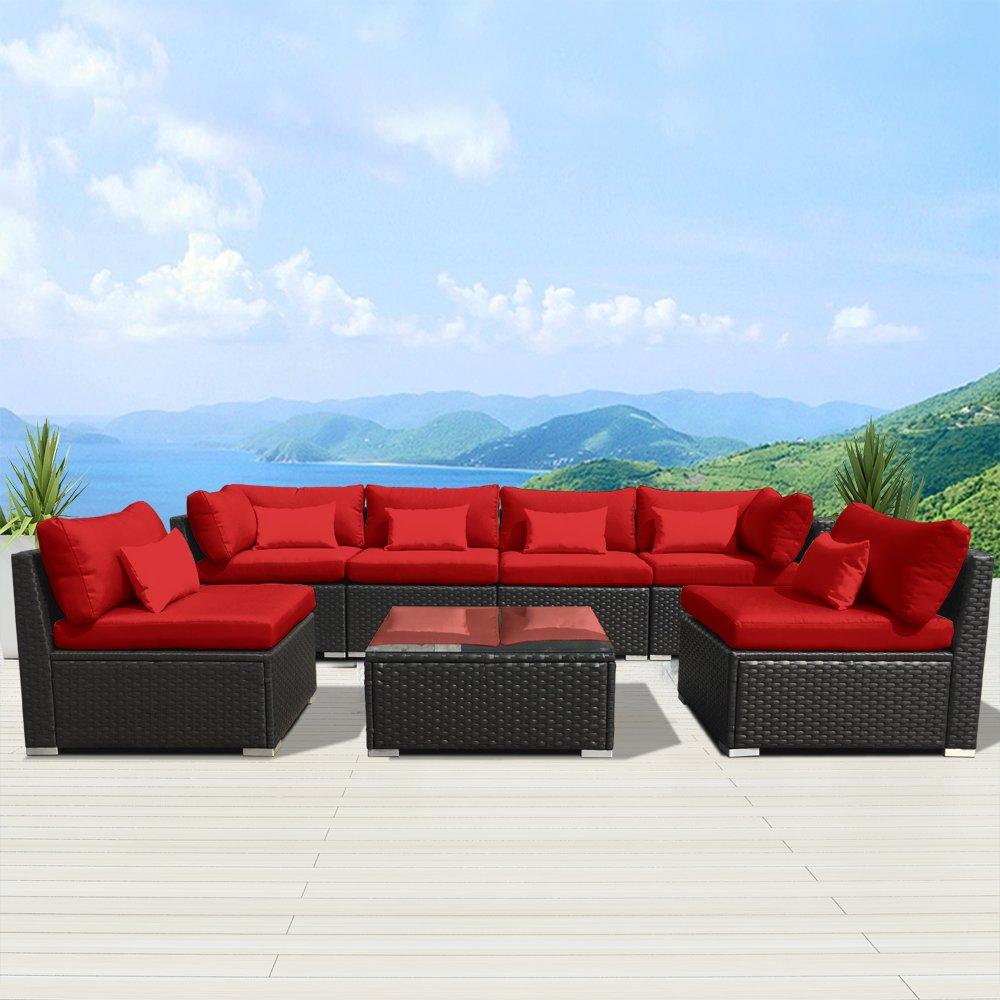 Modenzi 7G-U Outdoor Sectional Patio Furniture Espresso Brown Wicker Sofa Set (Red)