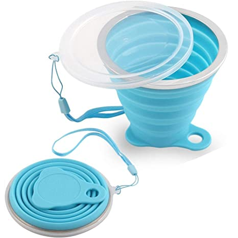 705df9f61c7e Haiesee Silicone Collapsible Travel Cup, Portable Foldable Cup, Folding Cup  With Lids, Certified BPA Free Silicone, Can Hold Water, Coffee, Tea & ...