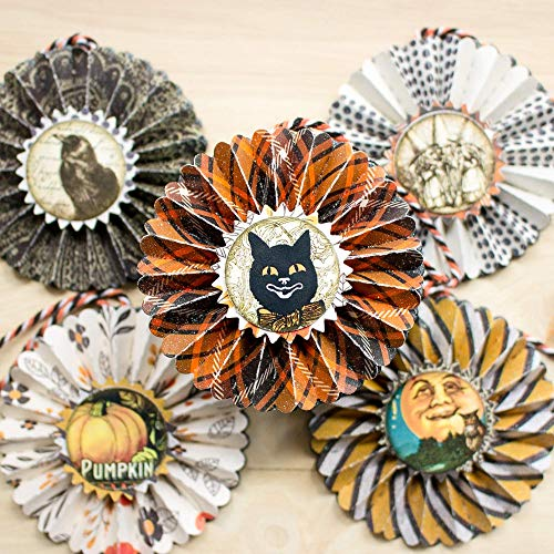 Halloween Ornaments Black and Orange Paper Rosettes Fall Decor Set of -