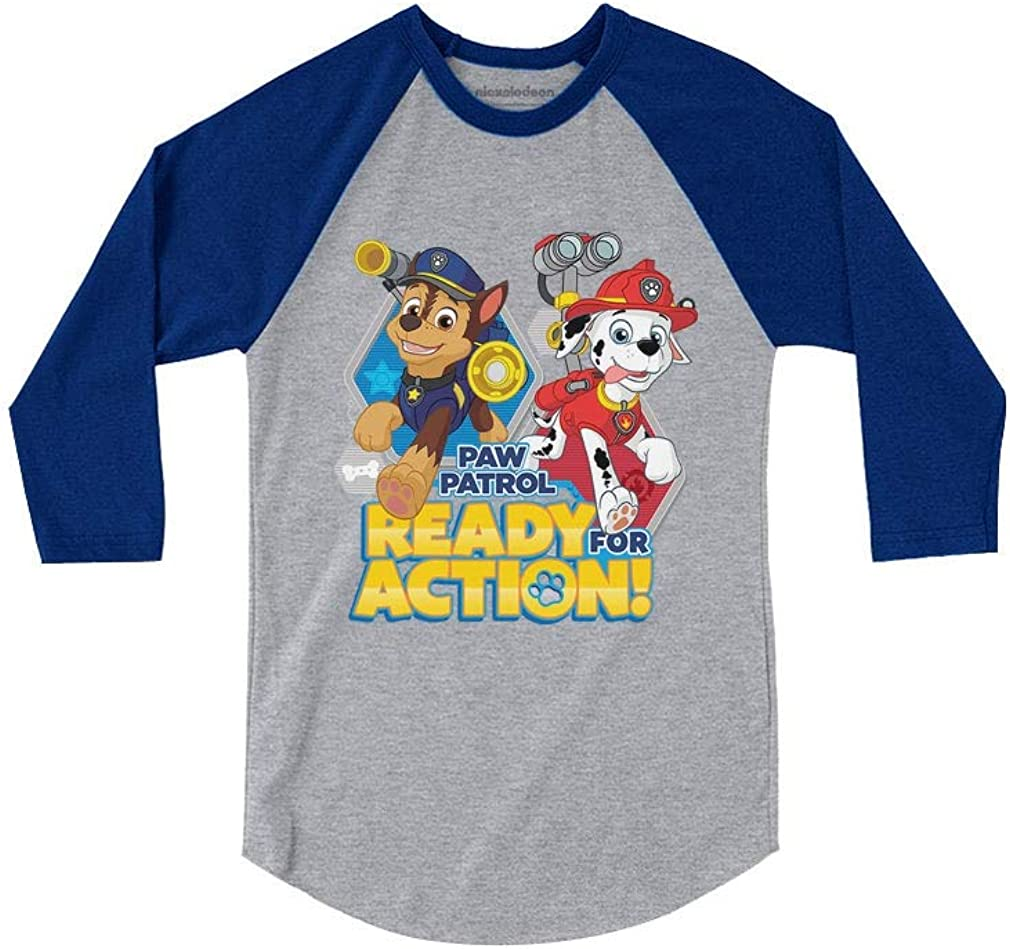 Ready for Action 3//4 Sleeve Baseball Jersey Toddler Shirt Official Paw Patrol
