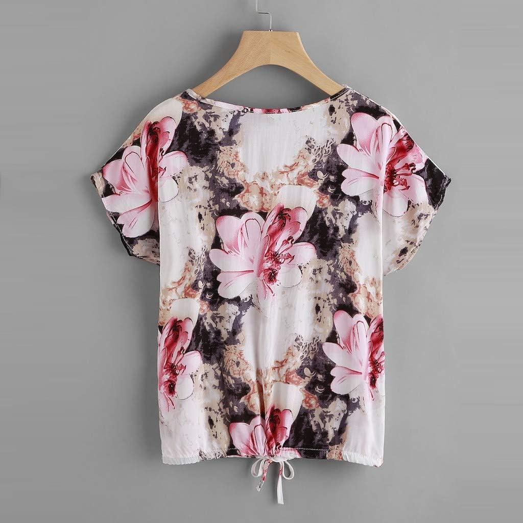 YKARITIANNA Blusa de verano con cuello en V floral, con cordón y ...