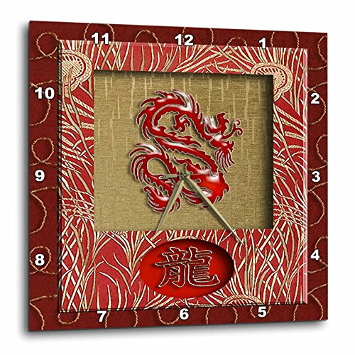 Dragon  Chinese, Red Dragon on Gold-Wall Clock,