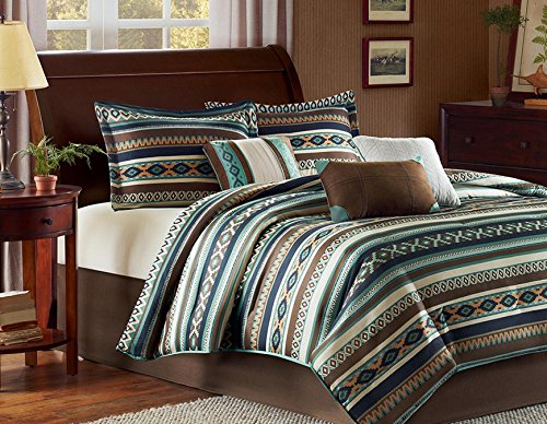 Southwest Turquoise Native American Queen Comforter, Shams, Toss Pillows & Bed Skirt (7 Piece Bed In A Bag)