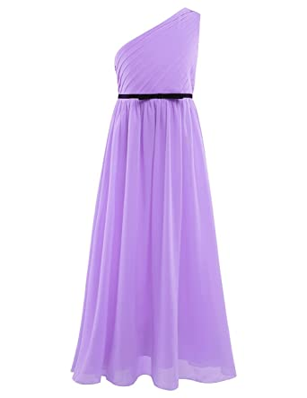 YiZYiF One-shoulder Pleated Girls Chiffon Junior Prom Wedding Bridesmaid Ball Gown Long Party Dress