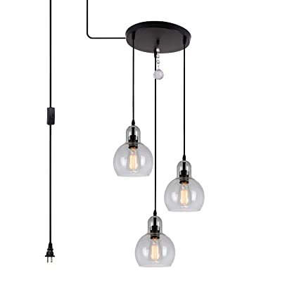 Hmvpl 3 Lights Plug In Glass Chandelier Pendant Light With 16 Ft Hanging Cord And In Line On Off Toggle Switch Antique Lighting Fixture For Living