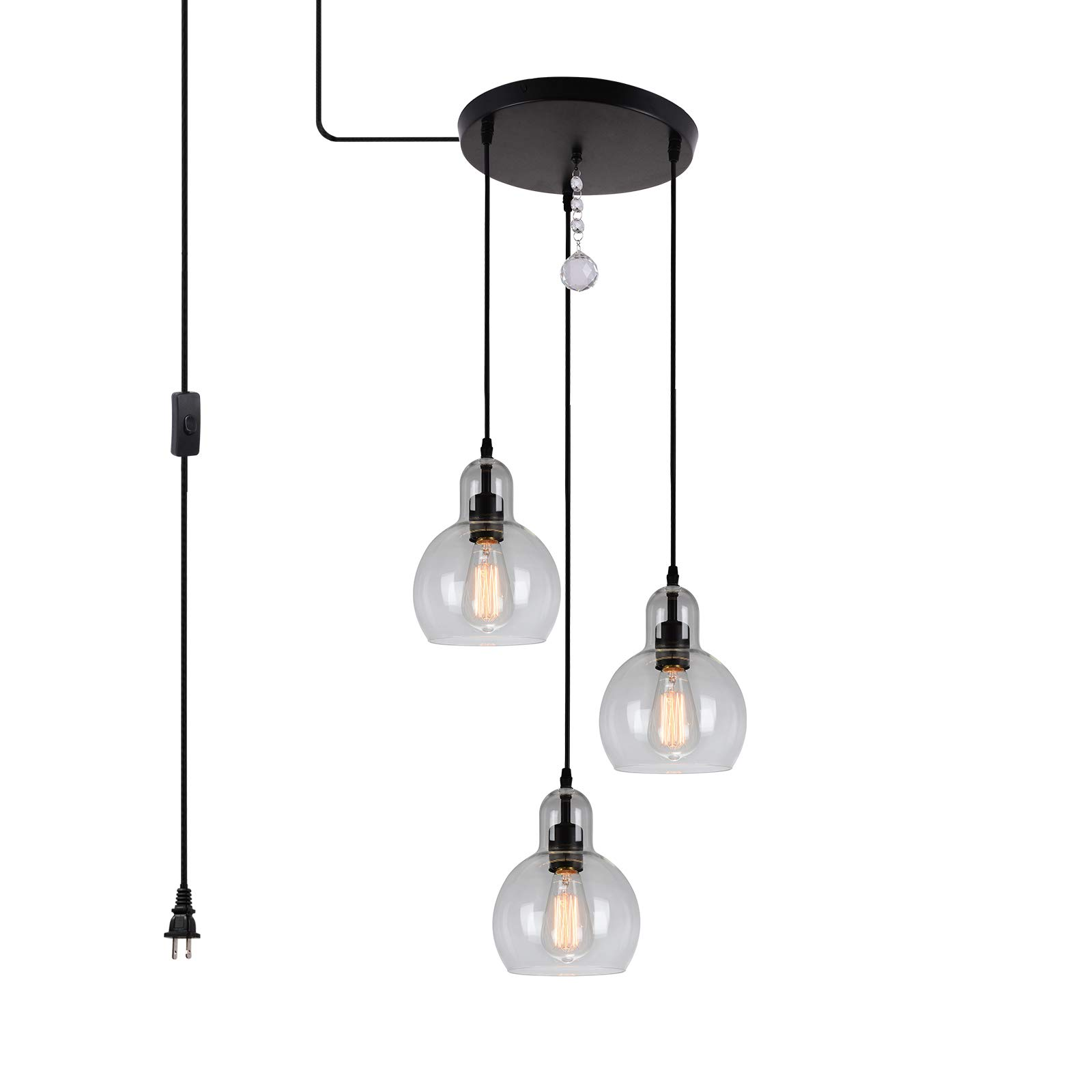 HMVPL 3-Lights Plug in Glass Chandelier Pendant Light with 16 Ft Hanging Cord and in-line on/Off Toggle Switch, Antique Lighting Fixture for Living Room Dining Room Kitchen Island Table Hallway