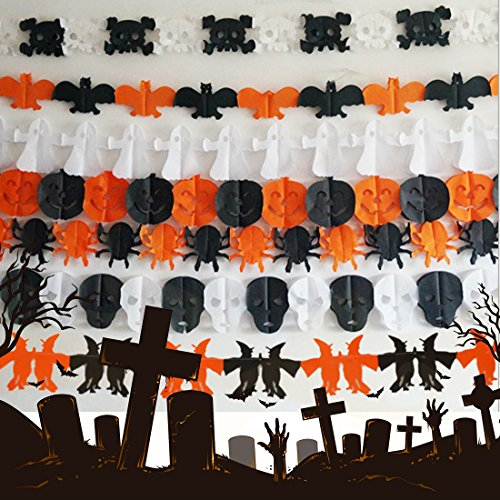 Costume Ideas 3 Halloween Some (A-SZCXTOP 6PCS Indoor Halloween Decoration Paper Garland Happy Halloween Hanging Prop Scary)
